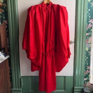 VINTAGE Red Collared Midi Dress Cardigan Cape 3 4